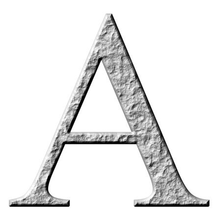 carved letters: 3d stone Greek letter Alpha isolated in white