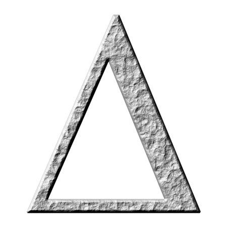 greek alphabet: 3d stone Greek letter Delta isolated in white Stock Photo