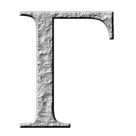 gamma: 3d stone Greek letter Gamma isolated in white