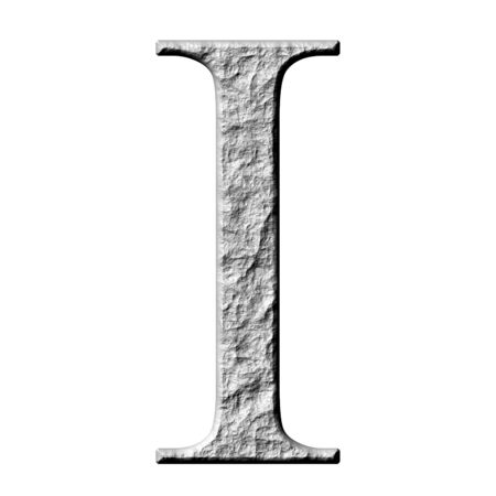 carved letters: 3d stone Greek letter Iota isolated in white