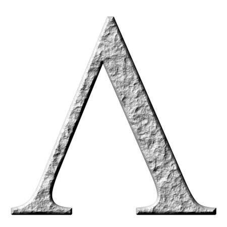 carved letters: 3d stone Greek letter Lambda isolated in white