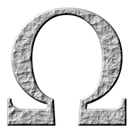 3d stone Greek letter Omega isolated in white photo