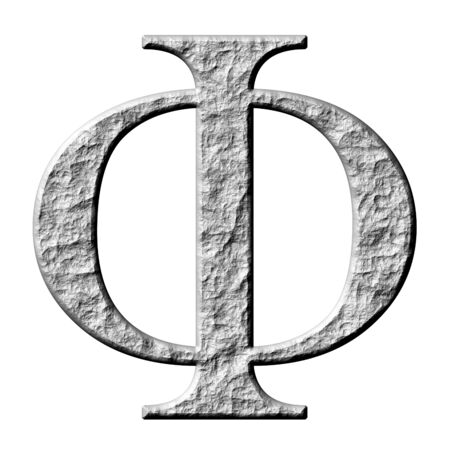 3d stone Greek letter Phi isolated in white photo