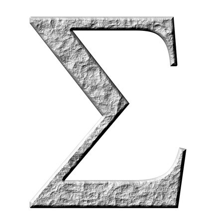carved letters: 3d stone Greek letter Sigma isolated in white Stock Photo