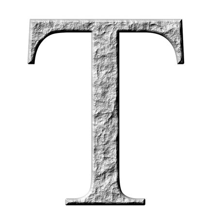alphabet greek symbols: 3d stone Greek letter Tau isolated in white