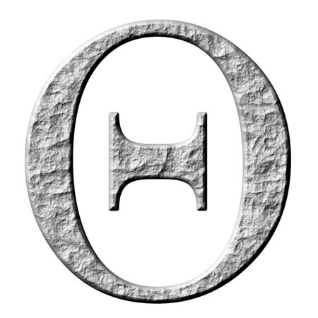 3d stone Greek letter Theta isolated in white photo