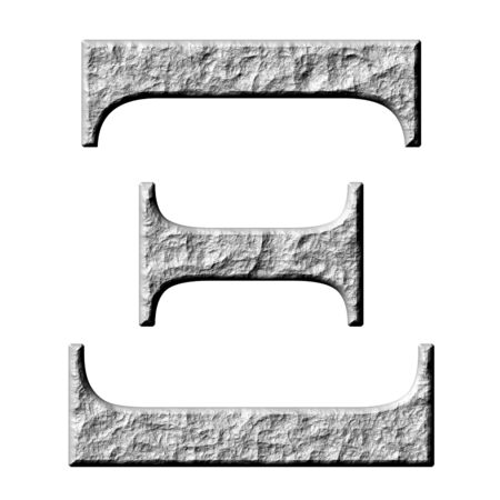 3d stone Greek letter Xi isolated in white photo
