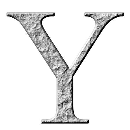 carved letters: 3d stone Greek letter Ypsilon isolated in white