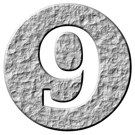 numerical: 3d stone framed number 9 isolated in white