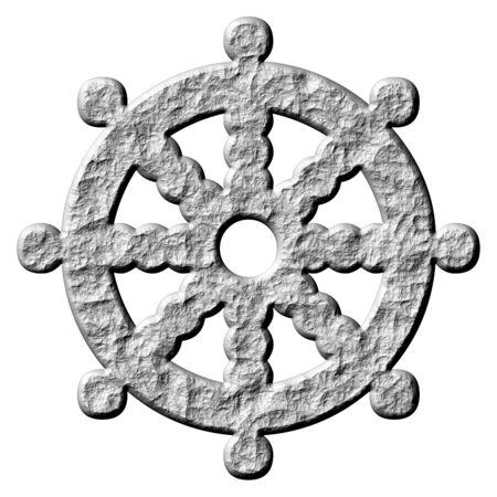 shakti: 3d stone buddhism symbol wheel of dharma