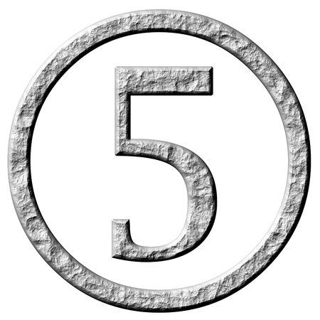 numerical: 3d stone framed number 5  Stock Photo
