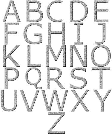 carved letters: 3d stone alphabet  Stock Photo