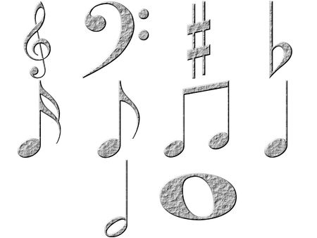 3d stone music notes Stock Photo - 4864255