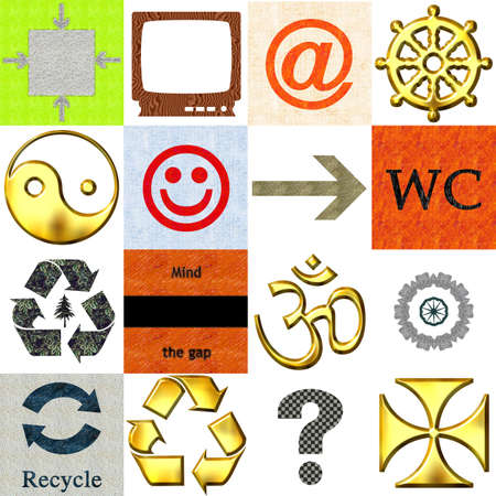 Set of 16 various icons photo