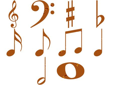 half note: Wooden music notes
