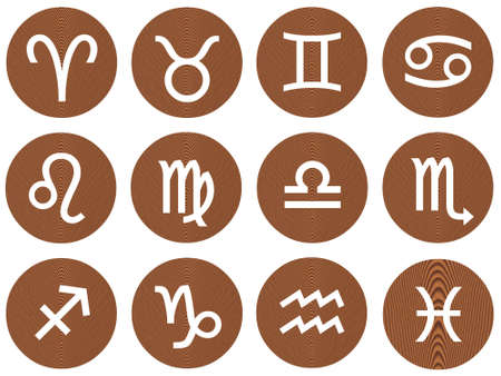 Wooden framed zodiac signs Stock Photo - 4908708