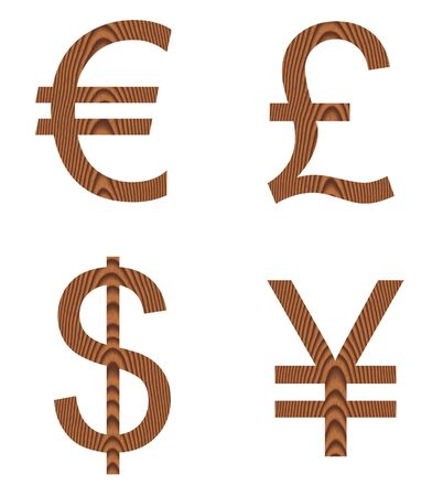 Wooden currency signs  photo