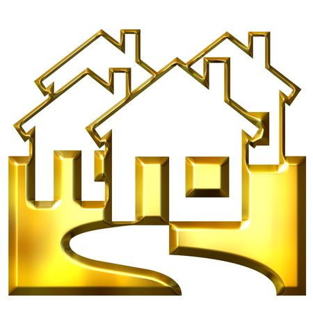 house logo: 3d golden real estate