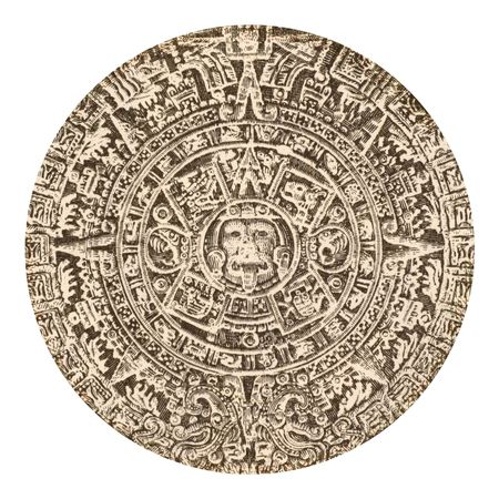 archeology: Aztec calendar sun stone on 500 pesos 1984 banknote from Mexico Stock Photo