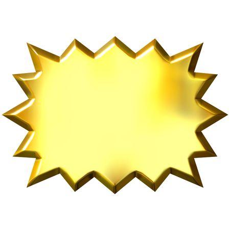 gold button: 3d golden burst  Stock Photo