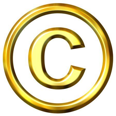 3d golden copyright symbol  photo