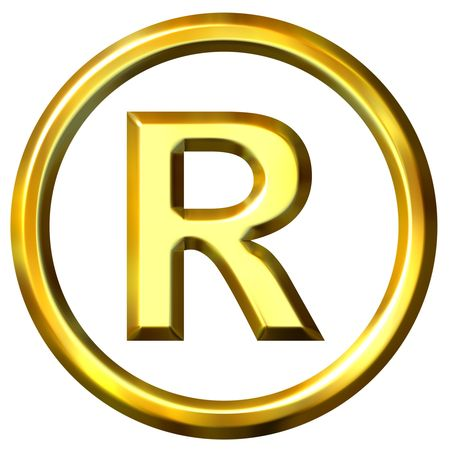 3d golden registered symbol photo
