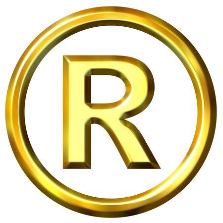 shinning: 3d golden registered symbol