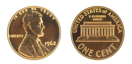 uncirculated: USA One Cent Uncirculated Stock Photo
