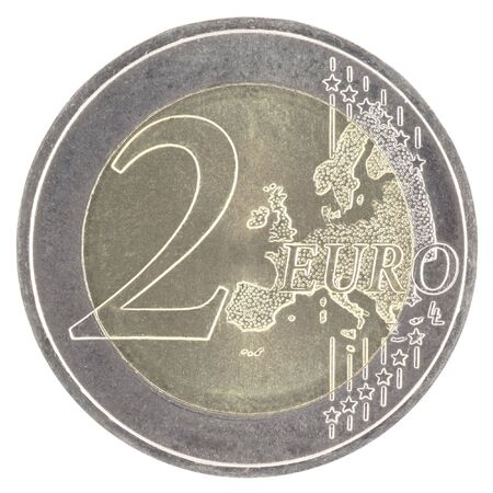 unc: Uncirculated 2 euro with new map Stock Photo