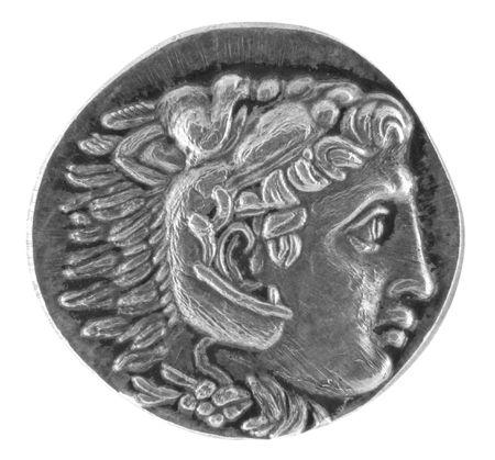 monedas antiguas: Alejandro Magno griego antiguo Tetradrachm 315 aC Foto de archivo