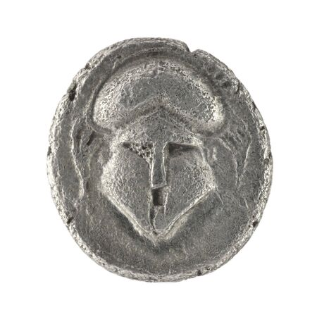 antique coins: Crested helmet on ancient Greek diobol from 350 BC Stock Photo