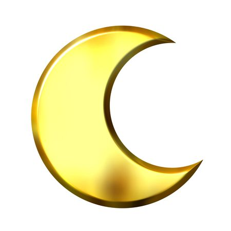 crescent moon: 3d golden crescent moon