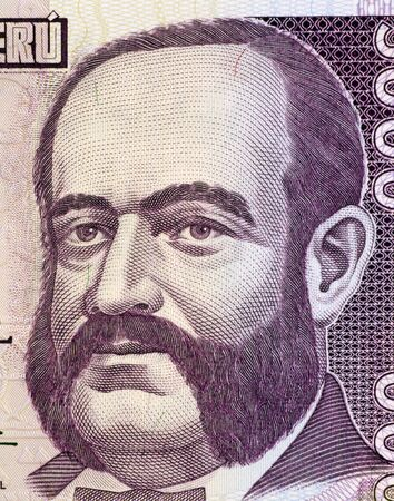 Admiral Miguel Grau on 5000 Indis 1988 Banknote from Peru. Naval officer and hero of the battle of Angamos in the war of the pacific during 1879-1884. One of the most famous military leaders of America. Stock Photo - 5239150