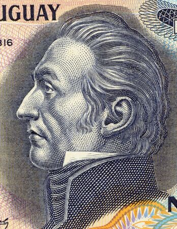 unc: Jose Gervasio Artigas Arnal on 50 Nuevos Pesos 1988 Banknote from Uruguay. National hero also known as the father of Uruguayan independence.