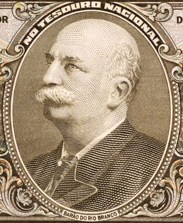 baron: Baron of Rio Branco on 5 Cruzerios 1962 Banknote from Brazil. Patron of Brazils diplomacy. Stock Photo
