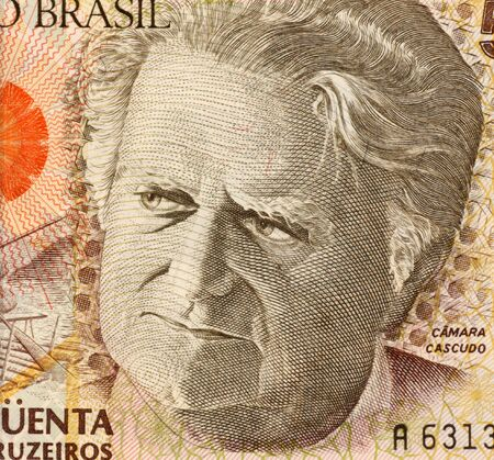 anthropologist: Camara Cascudo on 50000 Cruzerios 1992 Banknote from Brazil. Anthropologist, folklorist, historian, lawyer, journalist and lexicographer.