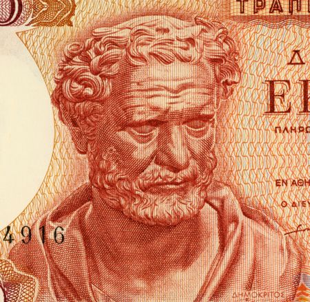 ancient philosophy: Democritus on 100 Drachmai 1967 Banknote from Greece. Ancient Greek philosopher. The most influental before the socratic era. His atomic theory may be regarded as the culmination of early Greek thought. He is considered as the father of modern science. Stock Photo