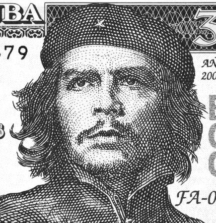 Ernesto Che Guevara op 3 pesos 2004 Biljet uit Cuba. Een inspiratie voor ieder mens die houdt van de vrijheid. Stockfoto