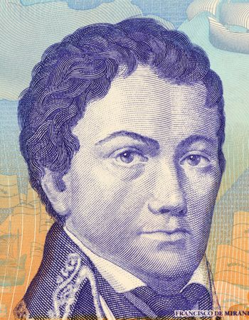 unc: Francisco de Miranta on 2 Bolivares 2007 Banknote from Venezuela. Revolutionary forerunner of Simon Bolivar.