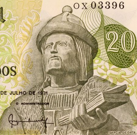 Garcia de Orta on 20 Escudos 1971 Banknote from Portugal. Physician, naturalist and pioneer of tropical medicine. photo