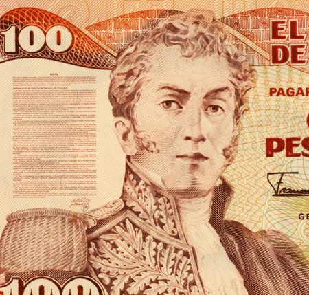 General Antonio Narino on 100 Pesos 1991 Banknote from Colombia. He was one of the early political and military leaders of the independence movement in Colombia. photo