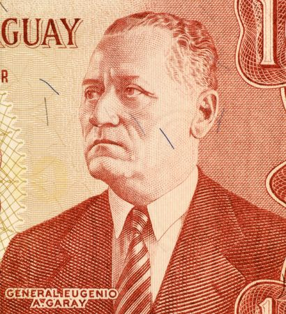 unc: General Eugenio A. Garay on 10 Guarani 1963 Banknote from Paraguay. Stock Photo