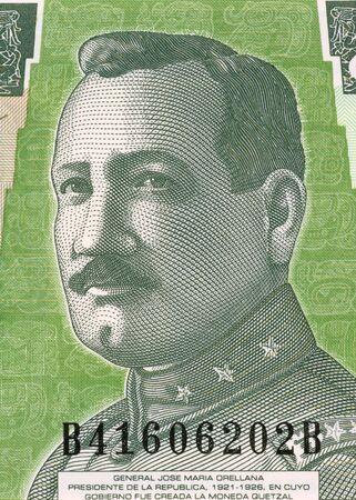 El general Jos� Mar�a Orellana, el 1 de Quetzal 2006 billetes de Guatemala. General y presidente durante 1921-1926. Foto de archivo - 5239217