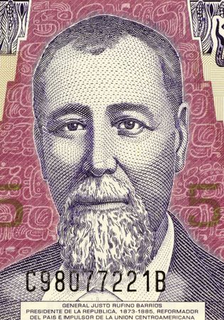 liberal: General Justo Rufino Barrios on 5 Quetzal 2006 Banknote from Guatemala. President with liberal reforms and attempts to reunite central America. Stock Photo