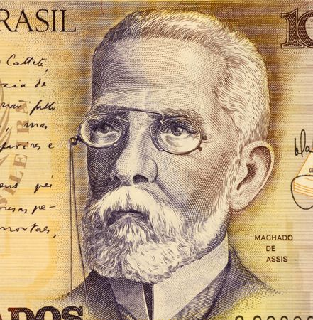 novelist: Joaquim Machado on 1000 Cruzados 1988 Banknote from Brazil. Poet, novelist and short story writer. Stock Photo