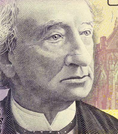 papermoney: John Macdonald on 10 Dollars 2005 Banknote from Canada. First Canadian prime minister. Stock Photo
