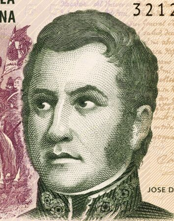 Jose de San Martin on 5 Pesos 2003 Banknote from Argentina. General and prime leader of the south part of South America's successful struggle for independence against Spain. Stock Photo - 5239328