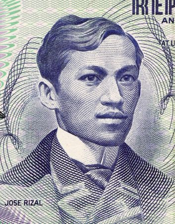 jose: Jose Rizal  on 1 Piso 1969 Banknote from Philipines.  Philippines national hero for his action during the Spanish colonial era.
