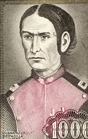 padilla: Juana Azurduy De Padilla on 1000 Pesos Bolivianos 1982 Banknote from Bolivia. Revolutionary and guerrilla leader during the South American war of independence at early 19th century.