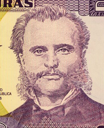 unc: Marco Aurelio Soto on 2 Lempiras 2003 Banknote from Honduras. Liberal president of Honduras during 1876-1883. Stock Photo